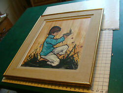 Large Vintage Framed Painting Of A Boy And Bird Signed But I Cant Read It.