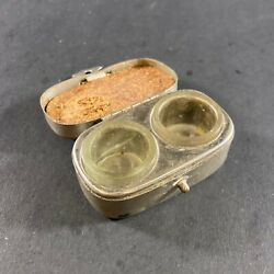Fantastic Vintage Antique Silver Plate Cased Glass Travel Double Pocket Inkwell