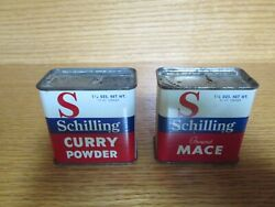Lot 2 Vintage Mccormick Schilling Spice Tins Curry Powder And Mace