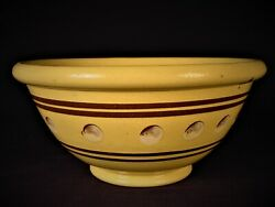 Extremely Rare Antique American 1800s Cats Eye Bowl Mocha Mochaware Yellow Ware
