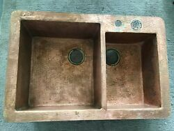 Native Trails Cps275 Cocina Duet Double Bowl Hammered Copper Kitchen Sink