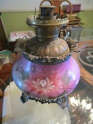 Victorian Hurricane Oil Table Lamp Pink W Flowers Both Sides Base Only 9w X 12h
