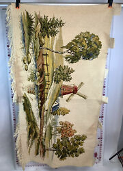 Wall Art Stitched Windmill Hanging Tapestry Or Window Top Shade