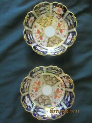 2 Royal Crown Derby Fancy Round Candy Dishes Bowls 5 1/4