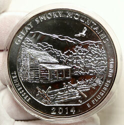 2014 United States Great Smoky Mountains Tennessee 5 Oz Pfl Silver Medal I95256