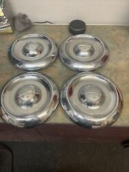 1950and039s 4 Vintage Oldsmobile Baby Moon Hub Cap Center Classic Dog Dish Hubcap Oem