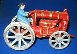 Antique Vintage Cast Iron Fordson Toy Tractor Red Farm 6 W/ Revolving Wheels