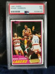 Magic Johnson Rookie 1981 Topps West 109 First Solo Los Angeles Lakers Psa 7