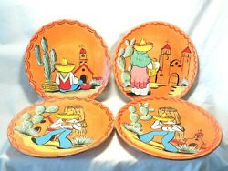 Bauer Pottery Vintage Plate Rare Set Of 4 Unfired Hand Painted Mexican