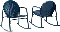 Crosley Furniture Co1013-nv Griffith Retro Metal Outdoor Rocking Chairs, Navy