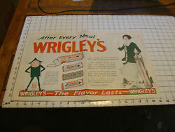 1922 Double Page Wrigley's Gum Ad 14 X 21 With Woman Golfer