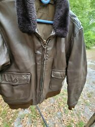 Authentic Us Navy Flight Jacket Worn In Bothww-2 And Korean War Leather Shearling.