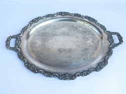 Poole Silver Co Lancaster Rose Silverplate Serving Platter Tray Oval 20.5x26.5