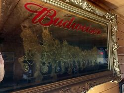 Rare 58x34 Red Letter Budweiser Gold Clydesdale Mirror Excellent Man Cave