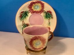 Antique Majolica Dahlia Flowers Cup And Saucer C.1800and039s Samuel Lear