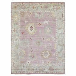 9'x11'5 Extra Soft Wool Hand Knotted Coral Pink Angora Oushak Rug G69011