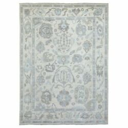9'x11'8 Ivory Angora Oushak Pure Wool Hand Knotted Oriental Rug G69084
