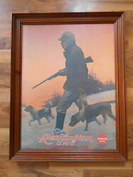 Old Vintage Advertising Framed Print Picture Remington Umc Firearms Hunting Dogs