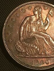 1860 P Seated Liberty Half Dollar Au/ms Details Toned
