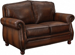 Coaster Home Furnishings Montbrook Loveseat With Rolled Arms Hand Rubbed Brown