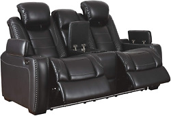Signature Design By Ashley Party Time Faux Leather Power Reclining Loveseat With