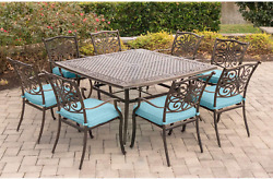 Hanover Traddn9pcsq-blu 9 Piece Traditions Square Dining Set Outdoor Furniture,