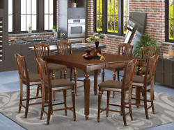 East West Furniture Chel9-mah-c Square Counter Height Table8 Stools Set 9 Pc-lin
