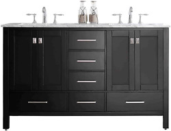 Eviva Aberdeen 60 Inch Espresso Transitional Double Sink Bathroom Vanity With Wh