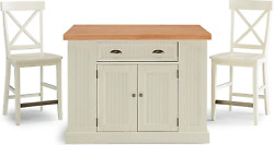Nantucket White Kitchen Island And Stools With Natural Wood Top By Home Styles