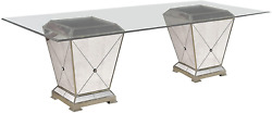 Bassett Mirror Borghese Dining Table Household, 44lx44wx29h, Antique Mirror/silv