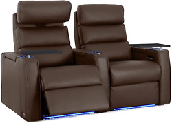 Octane Dream Leather Power Headrest And Power Recline Home Theater Recliners, Brow
