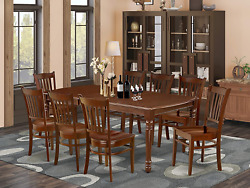 9pc Rectangular 60/78 Dining Room Table With 18 In Butterfly Leaf And 8 Wood Se