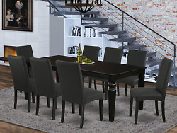 9pc Rectangle 66/84 Inch Kitchen Table With 18 In Leaf And Eight Parson Chair Wi
