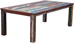 Teak Dining Table 71 X 43 Inch Made From Recycled Teak Wood Boats By Chic Teak