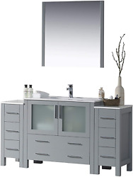 Blossom Sydney 60 Inches Single Bathroom Vanity With Double Side Cabinet, Ceram