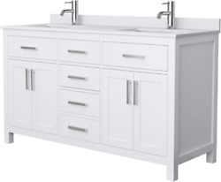 Beckett 60 Inch Double Bathroom Vanity In White, White Cultured Marble Counterto