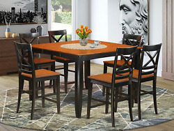7 Pc Counter Height Dining Room Set - Dining Table And 6 Kitchen Bar Stool.