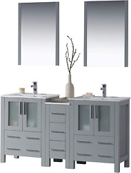 Blossom Sydney 60 Inches Double Sink Bathroom Vanity, Side Cabinet, Ceramic Sin
