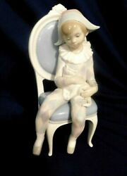 F2- Lladro Hand Made Porcelain Boy Sitting In Chair 10 Tall 1977-84 Mark