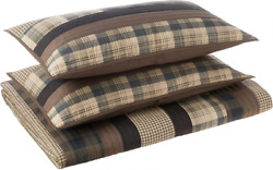 Woolrich 100 Cotton Quilt Reversible King/cal King110x96 Stripe Taupe