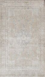Muted Semi-antique Floral Distressed Oriental Area Rug Handmade Wool Carpet 6x10
