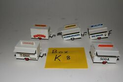 Ho Scale Lot Of 5 Food Concession Trailers, K-8