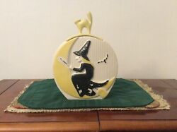 Rare Abingdon Witch And Cat Cookie Jar 692 One Side White Other Has Paint Loss