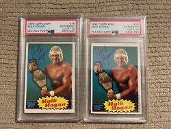 Lot Of 2 Autographed Hulk Hogan Signed Wwf 1985 Topps 16 Card Psa/dna Auto 10