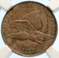 1858 United States Usa Flying Eagle Wreath Antique Vintage Cent Coin Ngc I95568