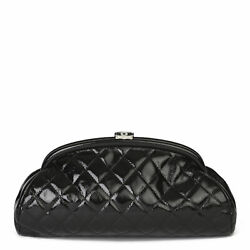 Black Quilted Aged Patent Leather Timeless Clutch Hb3916