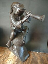 Vintage Frog Horn 🎶 Music Notes Excellent Condition Brass Bronze Heavy Patina