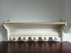 Gorgeous Vintage French Country Carved Oak Shelf With Hooks - C1940