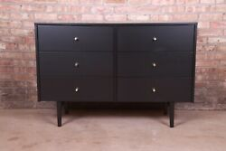 Paul Mccobb Planner Group Black Lacquered Six-drawer Dresser Newly Refinished