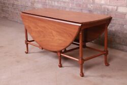 Baker Furniture Queen Anne Walnut Drop Leaf Coffee Table Newly Refinished